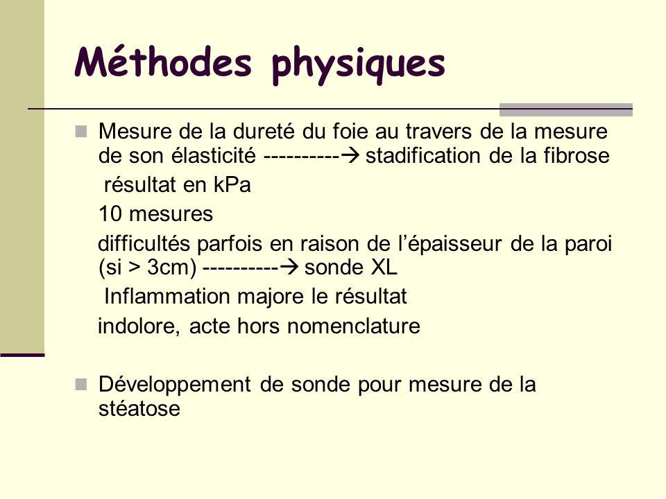 Méthodes physiques Mesure de la dureté du foie au travers de la mesure de son élasticité ---------- stadification de la fibrose.