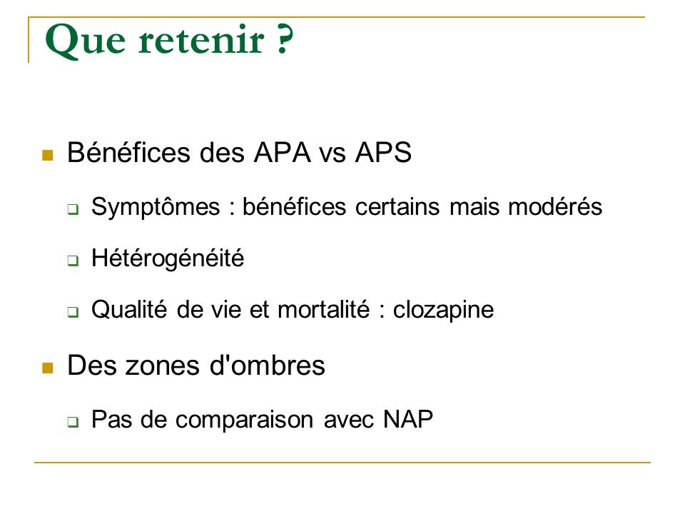 Que retenir Bénéfices des APA vs APS Des zones d ombres
