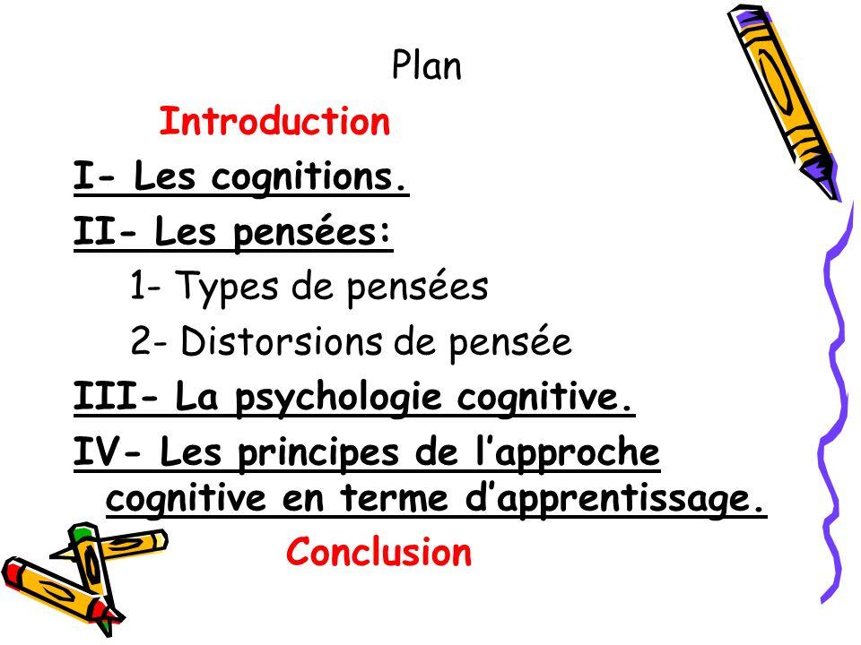 Plan Introduction. I- Les cognitions. II- Les pensées: 1- Types de pensées. 2- Distorsions de pensée.