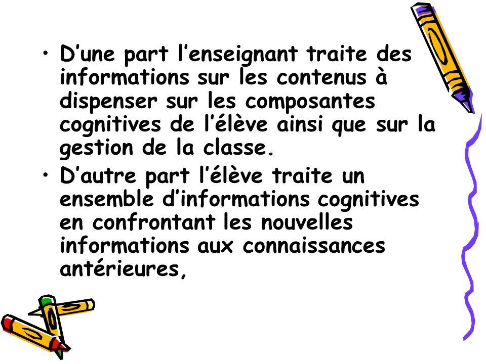 D'une part l'enseignant traite des informations sur les contenus à dispenser sur les composantes cognitives de l'élève ainsi que sur la gestion de la classe.