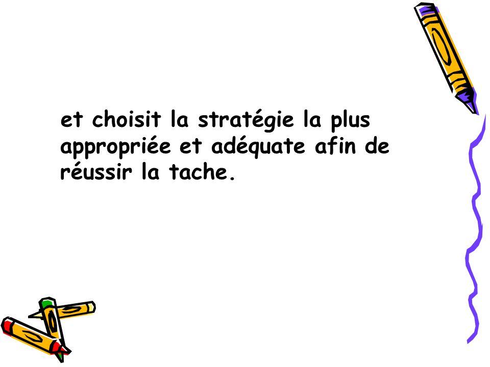 et choisit la stratégie la plus appropriée et adéquate afin de réussir la tache.