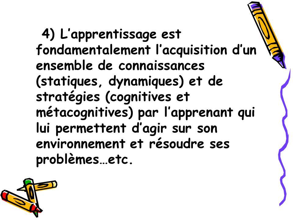 4) L'apprentissage est fondamentalement l'acquisition d'un ensemble de connaissances (statiques, dynamiques) et de stratégies (cognitives et métacognitives) par l'apprenant qui lui permettent d'agir sur son environnement et résoudre ses problèmes…etc.