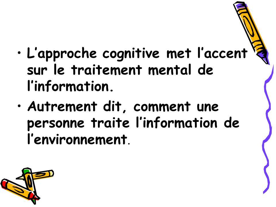 L'approche cognitive met l'accent sur le traitement mental de l'information.