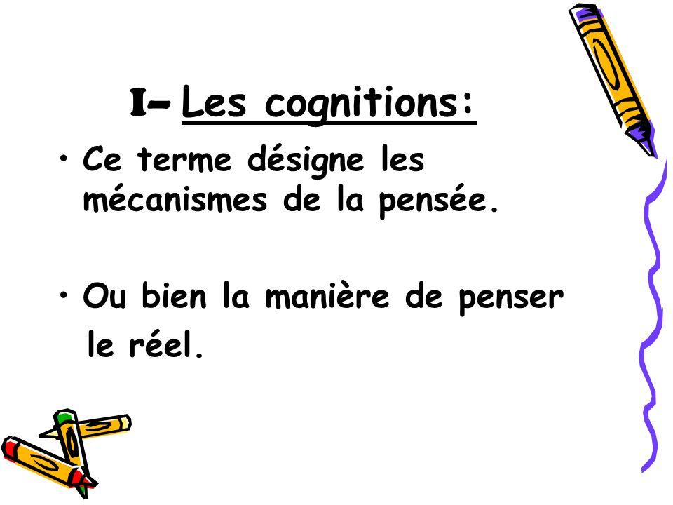 I– Les cognitions: Ce terme désigne les mécanismes de la pensée.