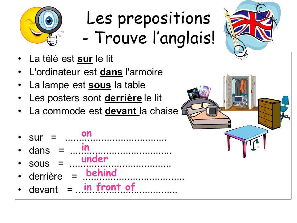 Les prepositions - Trouve l'anglais!