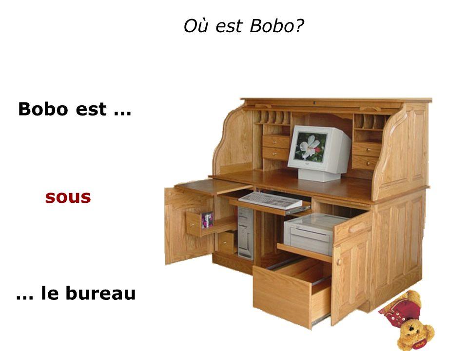 Où est Bobo Bobo est … sous … le bureau