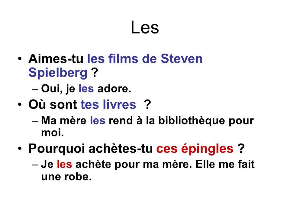 Les Aimes-tu les films de Steven Spielberg Où sont tes livres