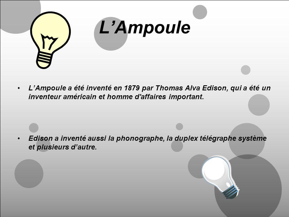 L'AmpouleL'Ampoule a été inventé en 1879 par Thomas Alva Edison, qui a été un inventeur américain et homme d affaires important.