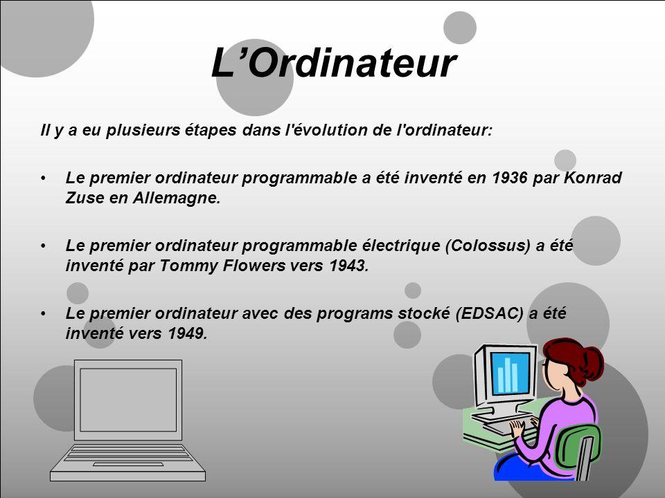 L'Ordinateur Il y a eu plusieurs étapes dans l évolution de l ordinateur: