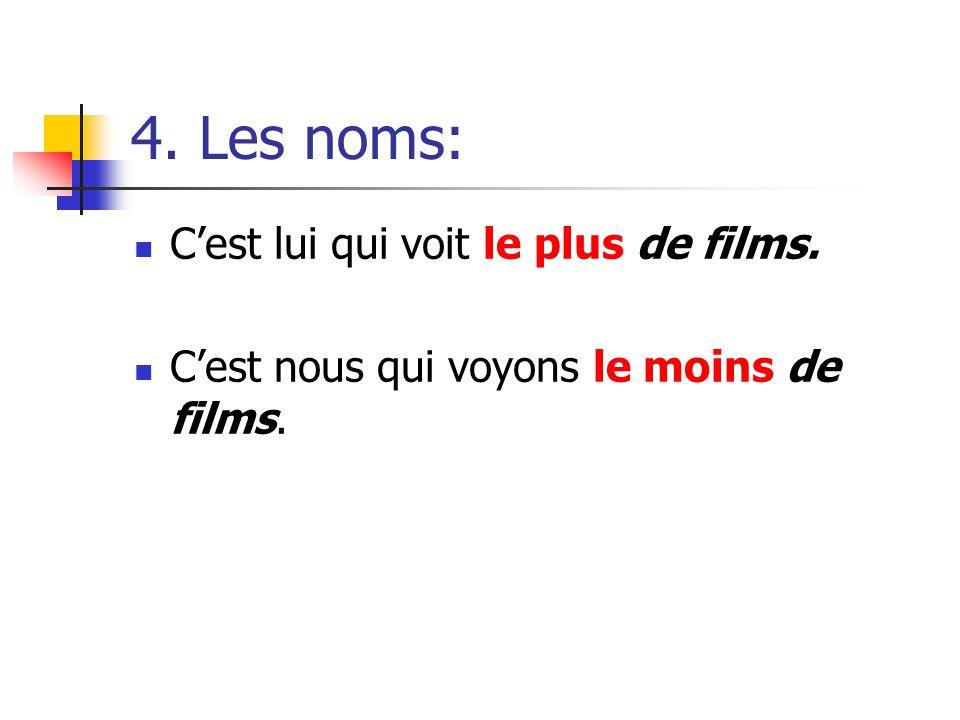 4. Les noms: C'est lui qui voit le plus de films.
