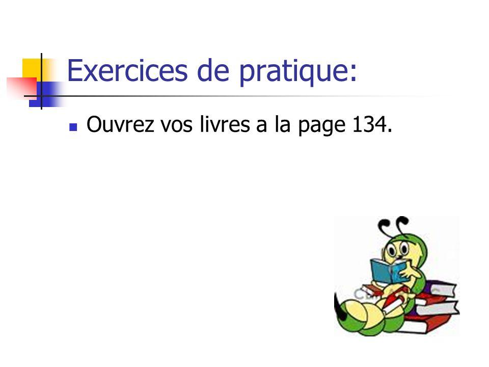Exercices de pratique: