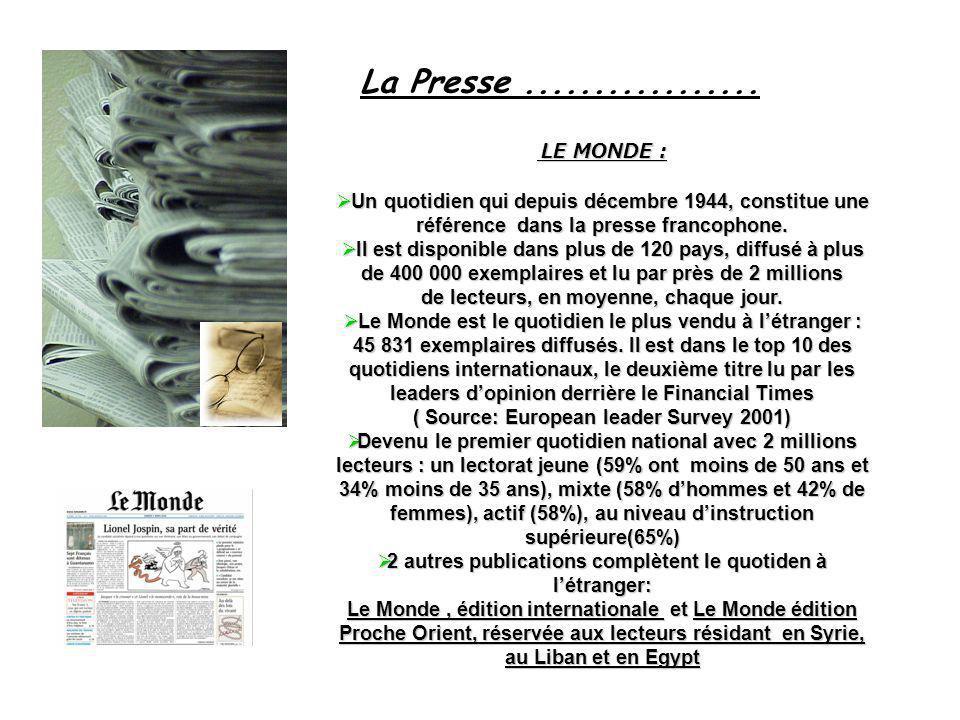 La Presse ................. LE MONDE : Un quotidien qui depuis décembre 1944, constitue une référence dans la presse francophone.