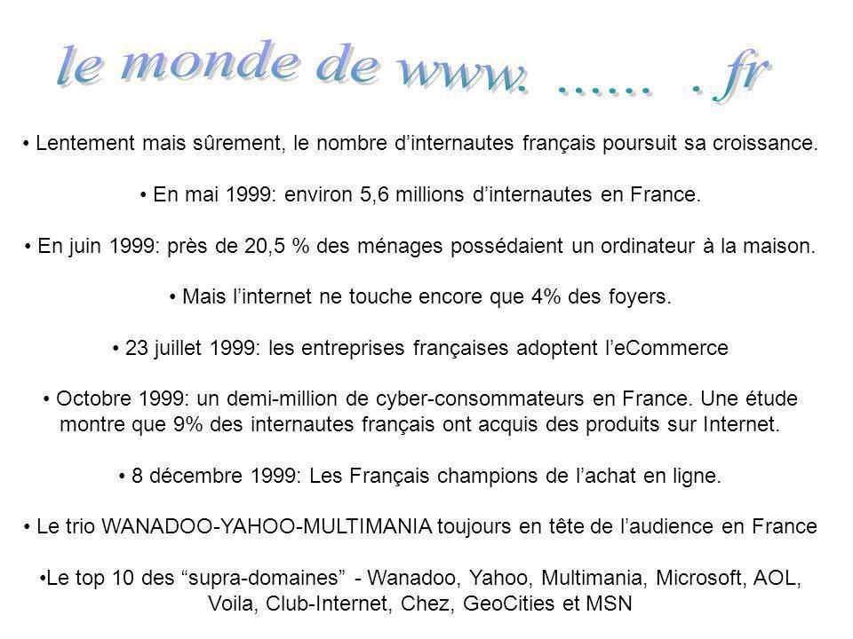le monde de www. ...... . fr Lentement mais sûrement, le nombre d'internautes français poursuit sa croissance.