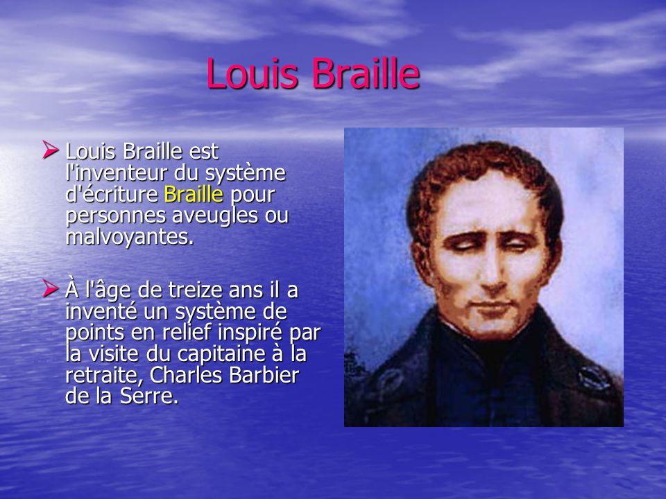 Louis BrailleLouis Braille est l inventeur du système d écriture Braille pour personnes aveugles ou malvoyantes.