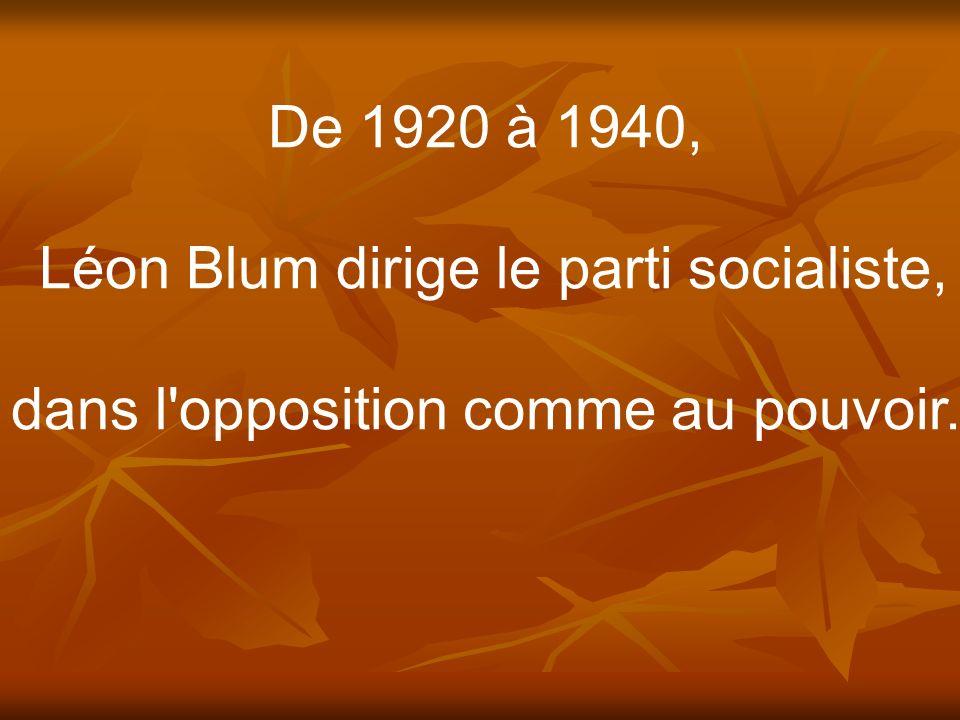 Léon Blum dirige le parti socialiste,