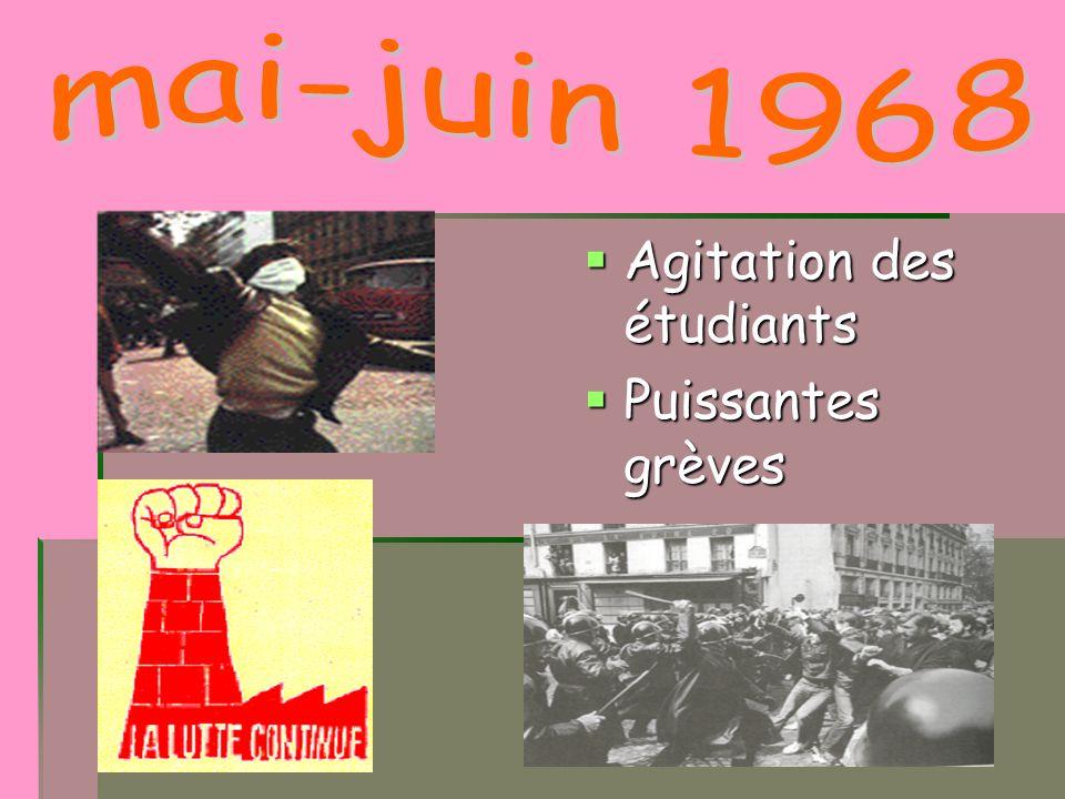 mai-juin 1968 Agitation des étudiants Puissantes grèves