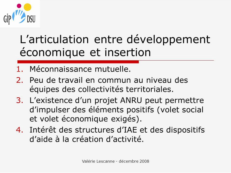 L'articulation entre développement économique et insertion