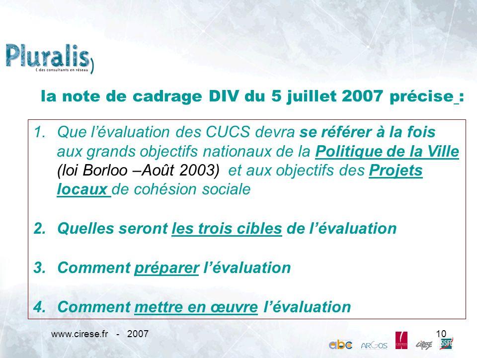 la note de cadrage DIV du 5 juillet 2007 précise :