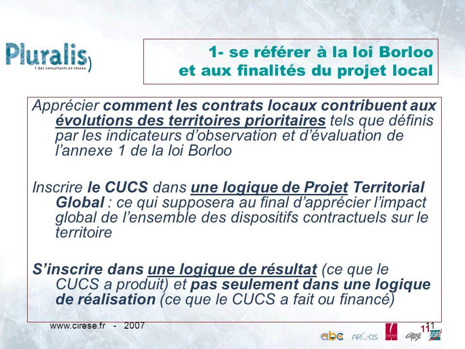 1- se référer à la loi Borloo et aux finalités du projet local
