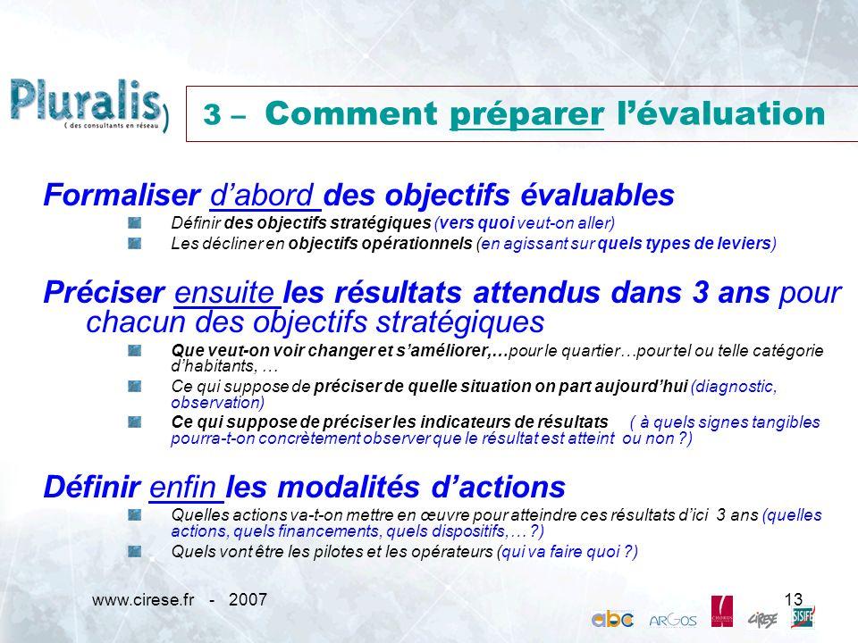 3 – Comment préparer l'évaluation