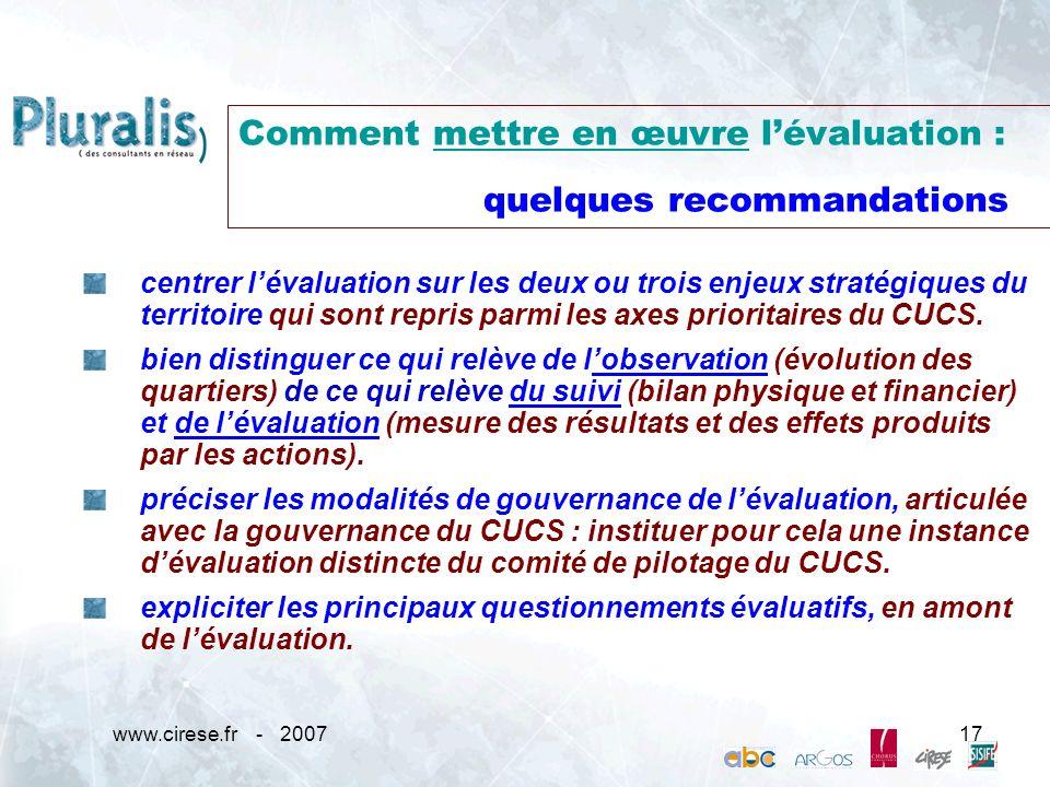 Comment mettre en œuvre l'évaluation : quelques recommandations