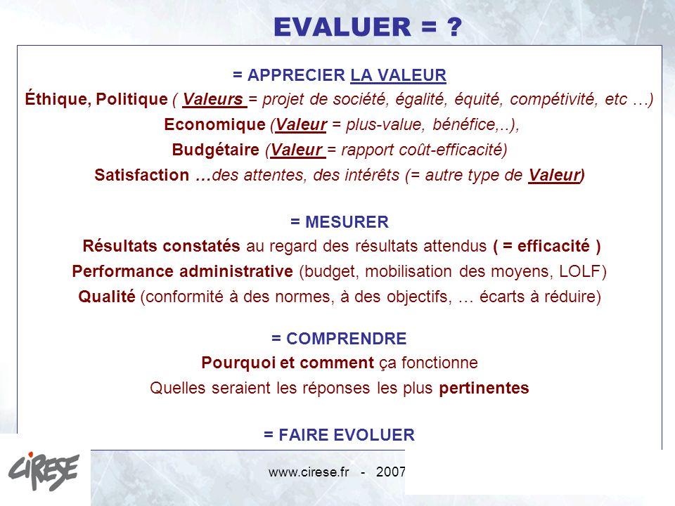 = APPRECIER LA VALEUR = MESURER = COMPRENDRE = FAIRE EVOLUER