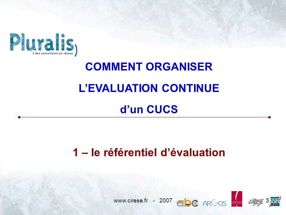 L'EVALUATION CONTINUE 1 – le référentiel d'évaluation