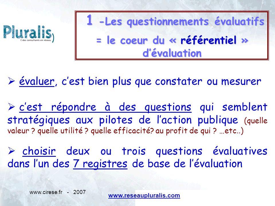 1 -Les questionnements évaluatifs