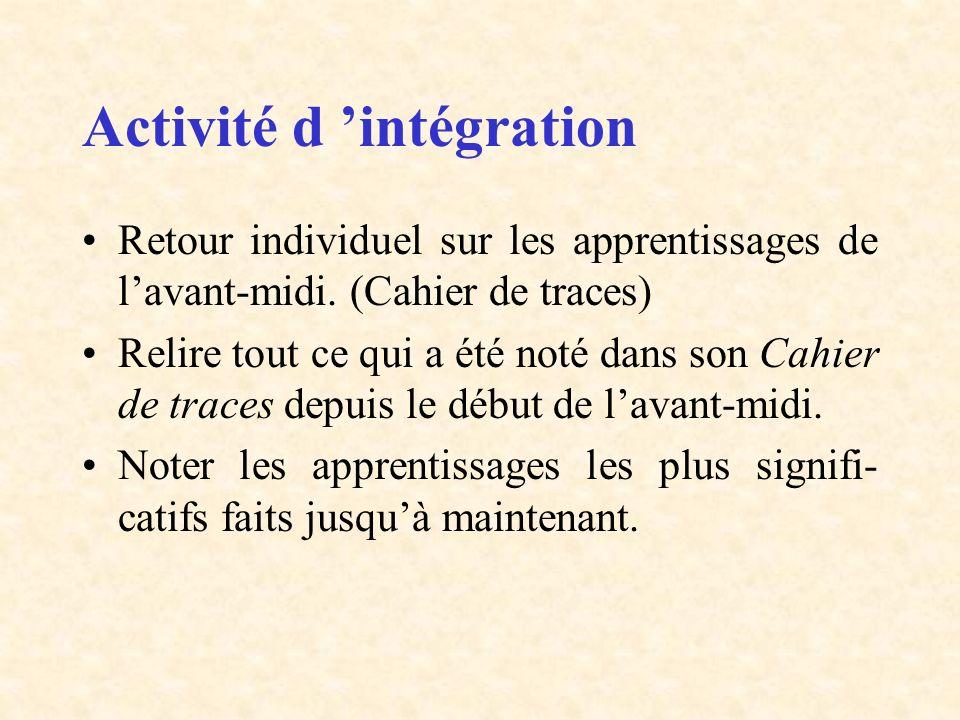 Activité d 'intégration