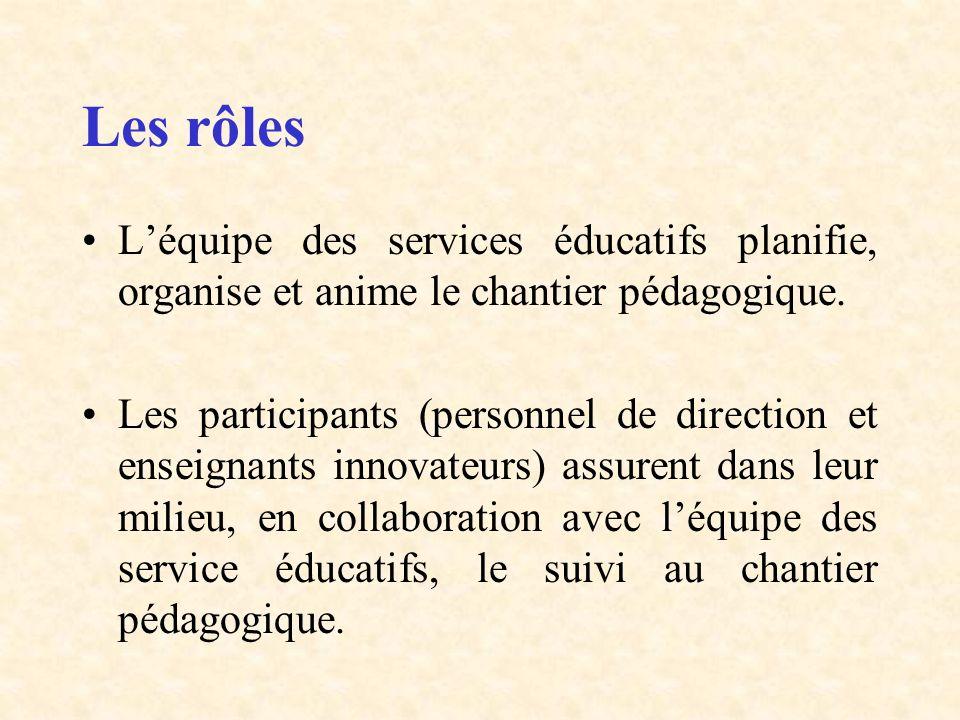 Les rôles L'équipe des services éducatifs planifie, organise et anime le chantier pédagogique.