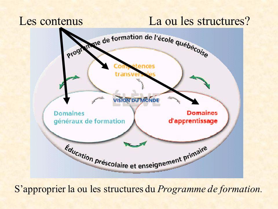 Les contenus La ou les structures