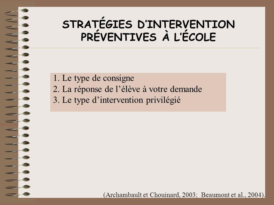 STRATÉGIES D'INTERVENTION PRÉVENTIVES À L'ÉCOLE