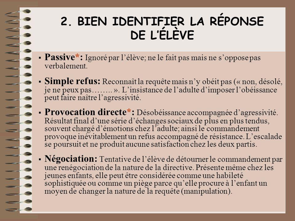 2. BIEN IDENTIFIER LA RÉPONSE DE L'ÉLÈVE