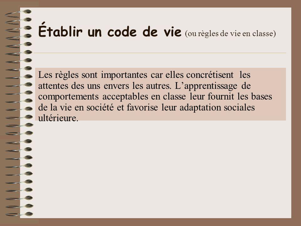 Établir un code de vie (ou règles de vie en classe)