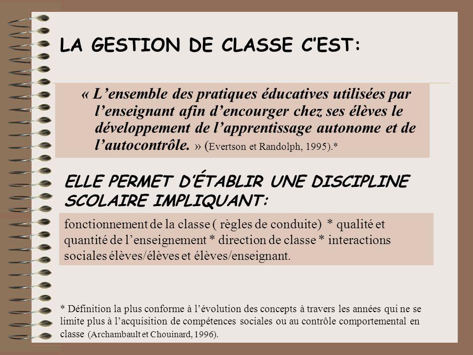 LA GESTION DE CLASSE C'EST: