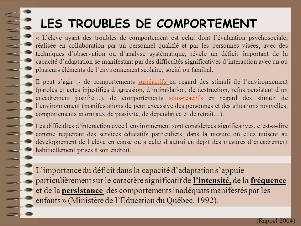 LES TROUBLES DE COMPORTEMENT