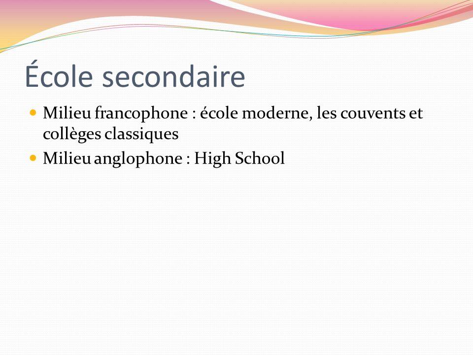 École secondaireMilieu francophone : école moderne, les couvents et collèges classiques.