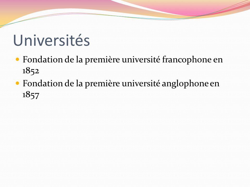 Universités Fondation de la première université francophone en 1852