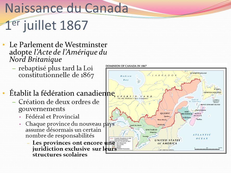 Naissance du Canada 1er juillet 1867