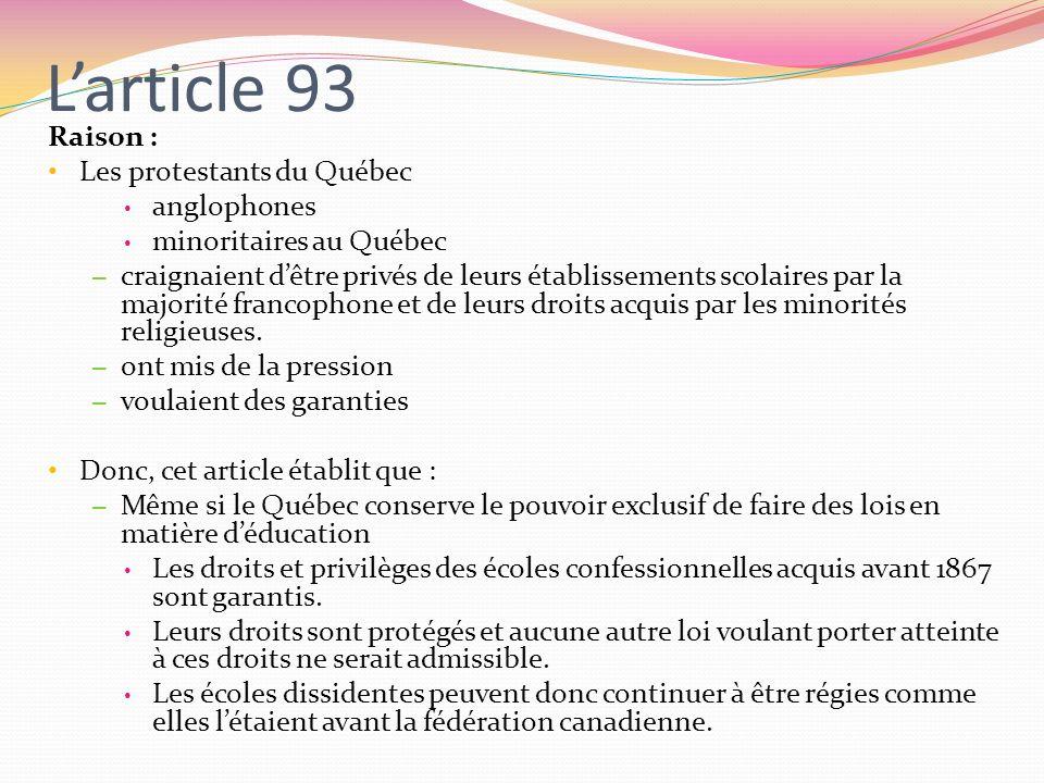 L'article 93 Raison : Les protestants du Québec anglophones