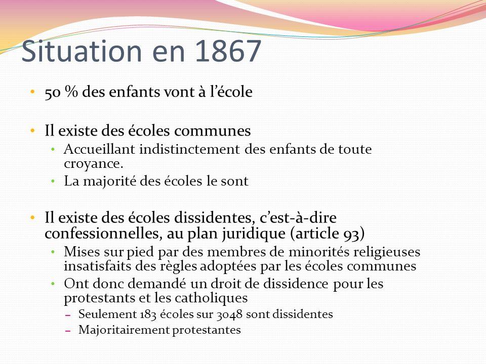 Situation en 1867 50 % des enfants vont à l'école