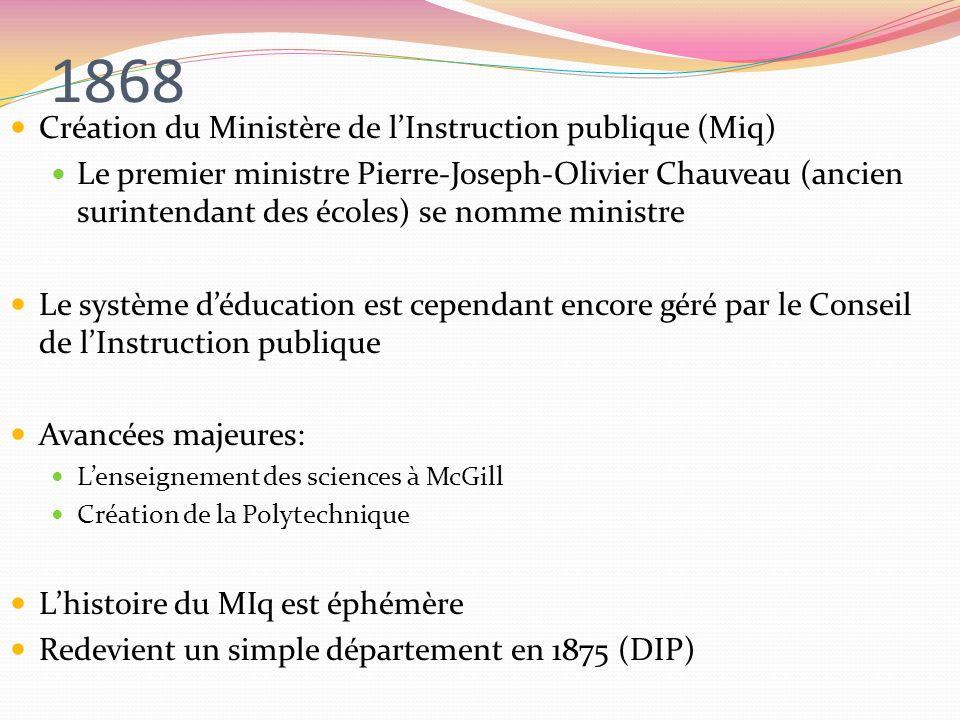 1868 Création du Ministère de l'Instruction publique (Miq)