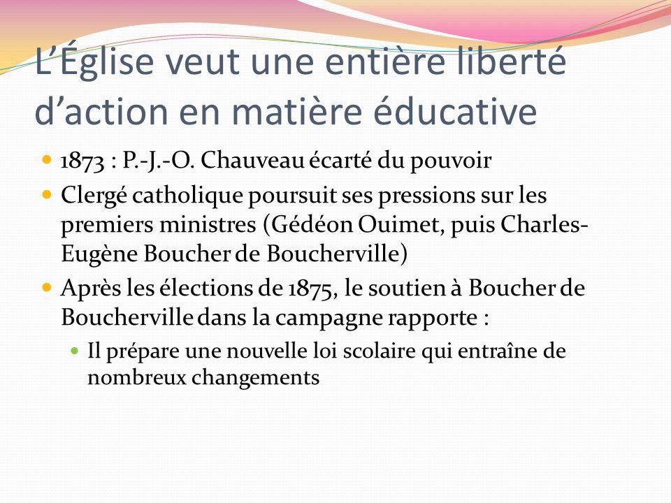 L'Église veut une entière liberté d'action en matière éducative