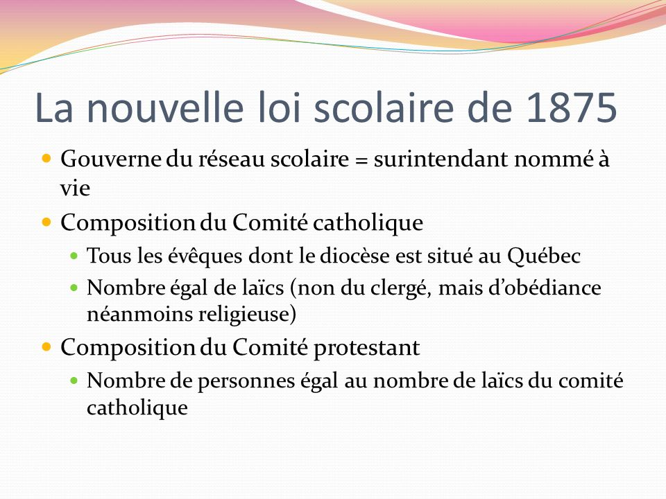 La nouvelle loi scolaire de 1875