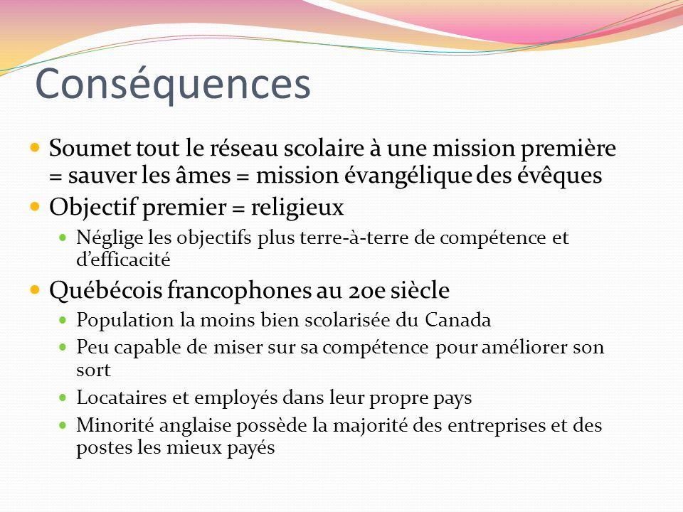 Conséquences Soumet tout le réseau scolaire à une mission première = sauver les âmes = mission évangélique des évêques.
