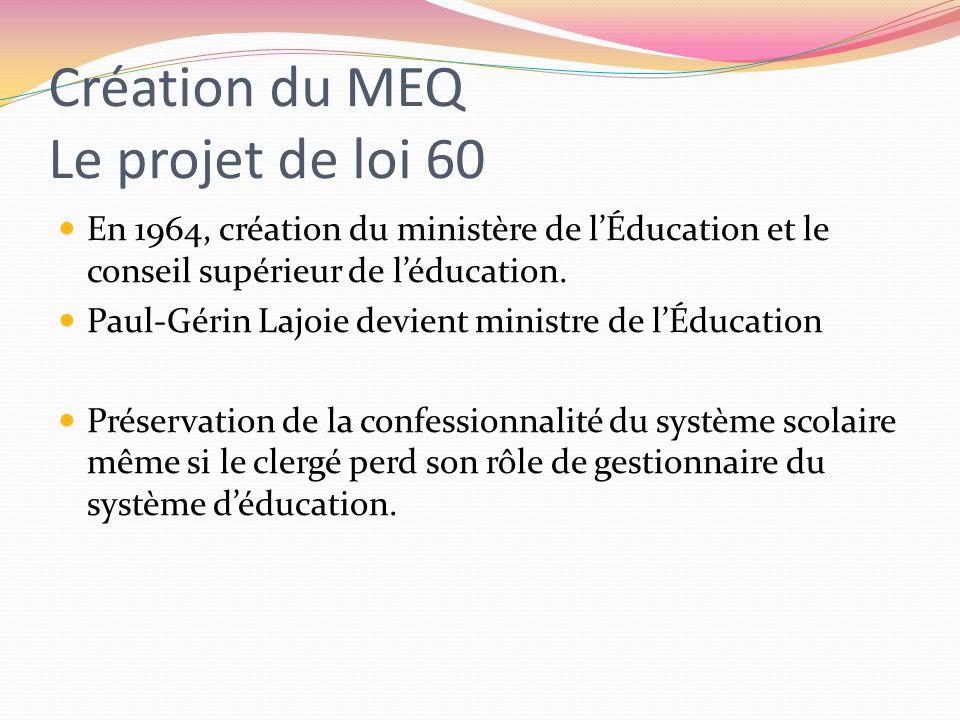 Création du MEQ Le projet de loi 60