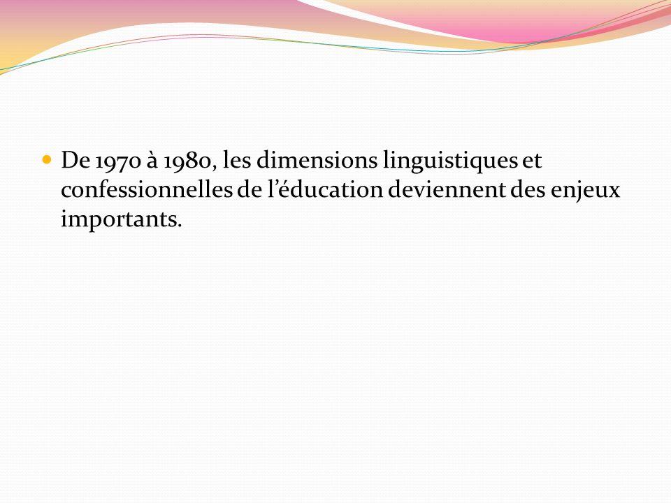De 1970 à 1980, les dimensions linguistiques et confessionnelles de l'éducation deviennent des enjeux importants.