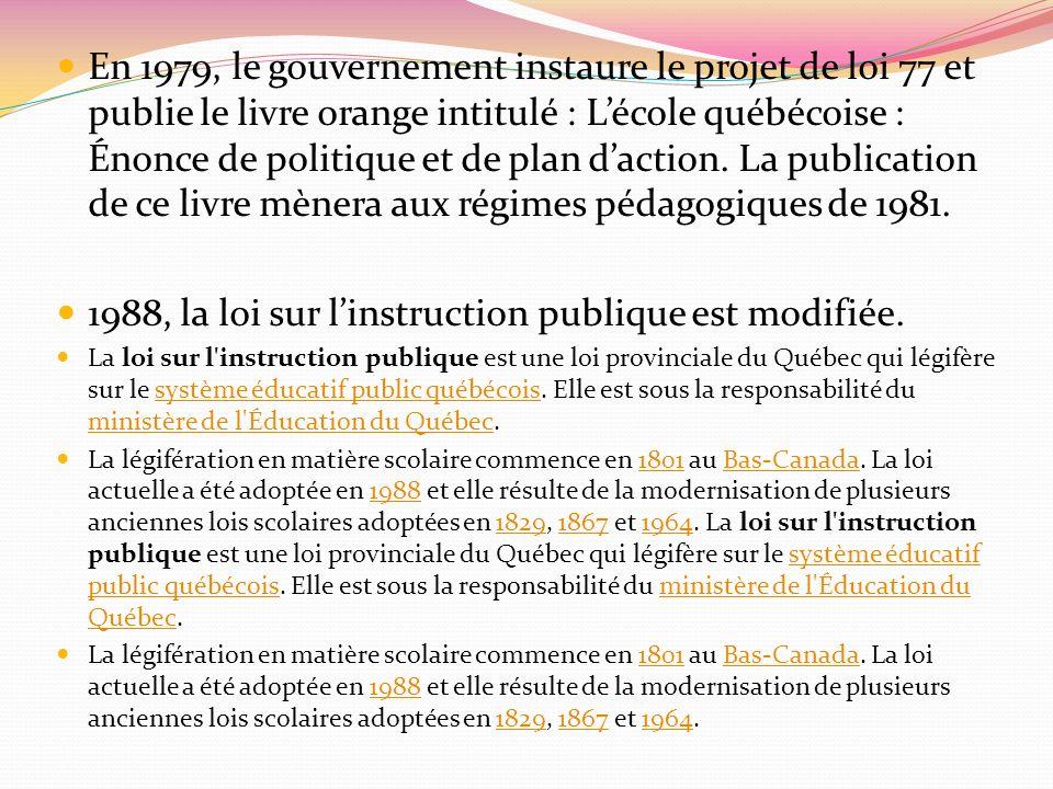 1988, la loi sur l'instruction publique est modifiée.