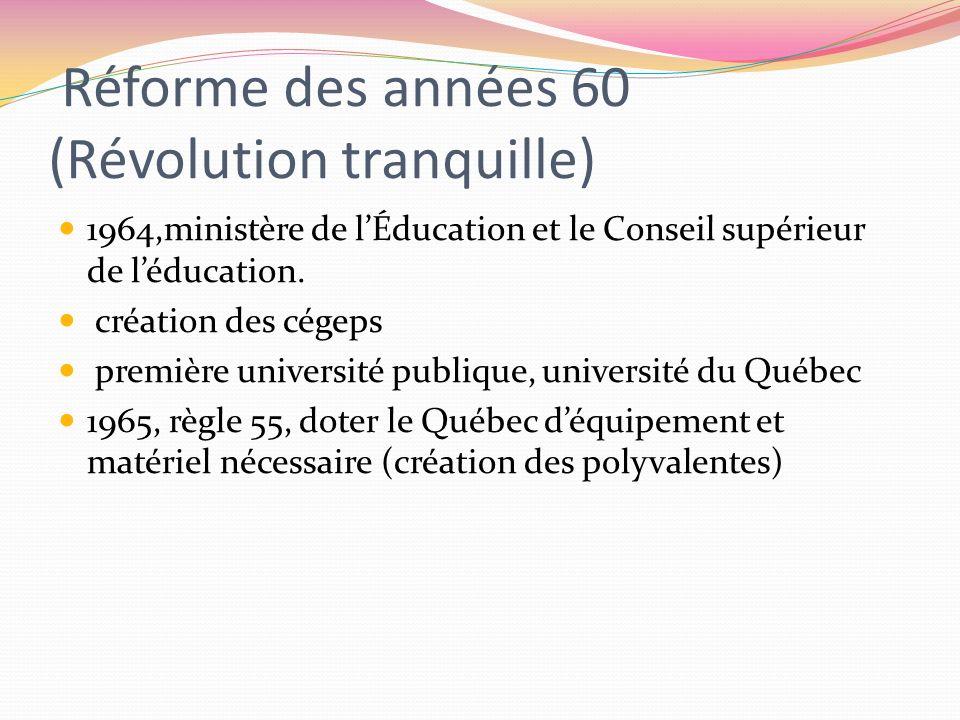 Réforme des années 60 (Révolution tranquille)