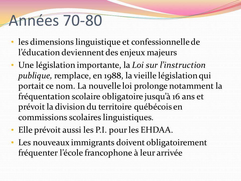 Années 70-80les dimensions linguistique et confessionnelle de l'éducation deviennent des enjeux majeurs.